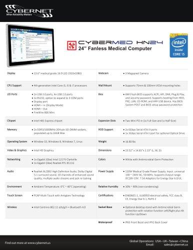 """24"""" Fanless Medical PC - CyberMed HN24"""
