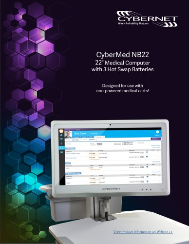 """CyberMed NB22 22"""" Medical Cart PC with 3 Hot Swap Batteries"""