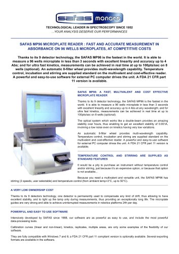 SAFAS MP96 MICROPLATE READER
