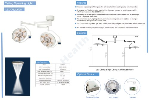 Catalog-LEDD620/620-Ceiling Surgical Light with Double Arms