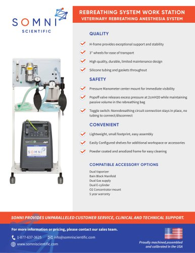 REBREATHING SYSTEM WORK STATION VETERINARY REBREATHING ANESTHESIA SYSTEM