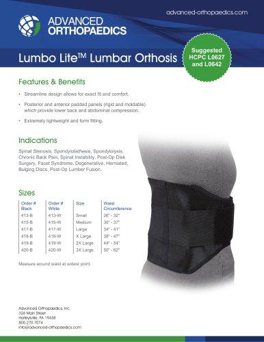 Lumbo LiteTM Lumbar Orthosis