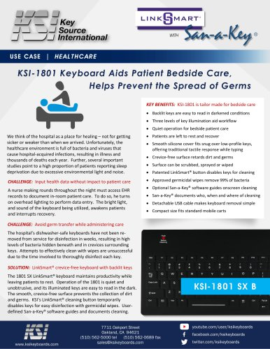 KSI-1801 SX Keyboard for Beside Care Use Case