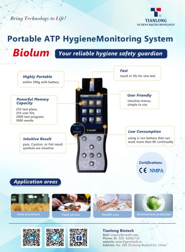 Tianlong's Portable Hygiene Monitor - Biolum