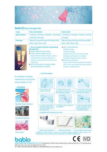 babio○R Virus Transport Kit