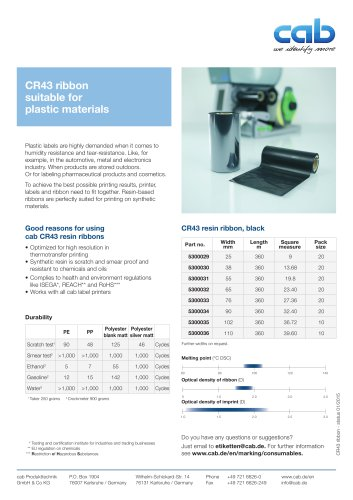 CR43 ribbon suitable for plastic materials