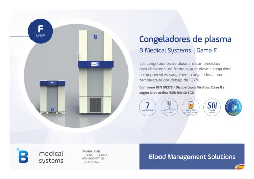 B Medical Systems Congeladores de plasma