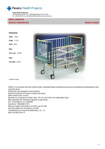 HORIZON 20 HOSPITAL PAEDIATRIC BED