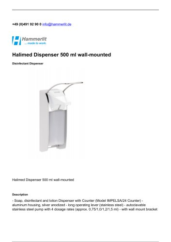 Halimed Dispenser 500 ml wall-mounted