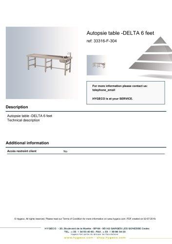 Autopsie table -DELTA 6 feet