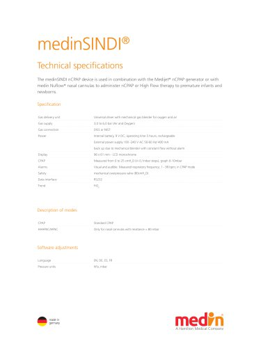 Technical Specification medinSINDI nCPAP driver
