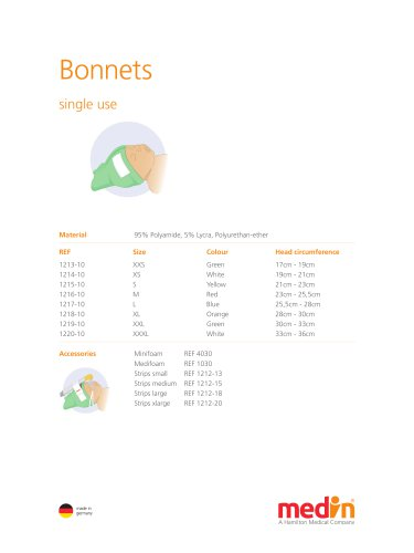 Technical Specifications Bonnets
