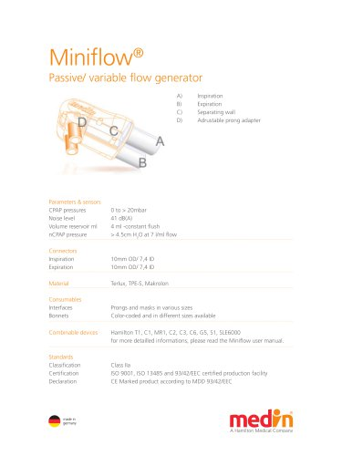 Technical Specifications Miniflow