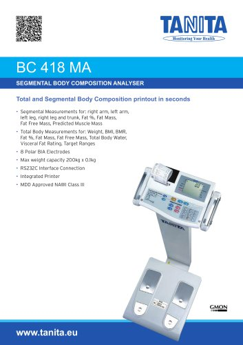 BC-418MA SEGMENTAL BODY COMPOSITION ANALYSER WITH INTEGRAL PRINTER