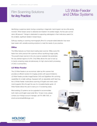 The LS-Wide Feeder and DMax scanning system spécification sheet
