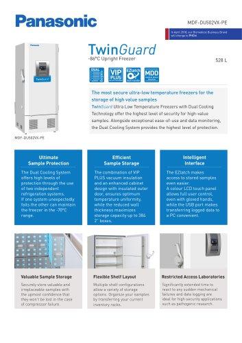 MDF-DU502VX-PE TwinGuard ULT Freezer Product sheet