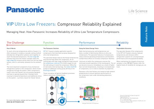 VIP ULT Freezers Feature Note - Compressor Reliability Explained