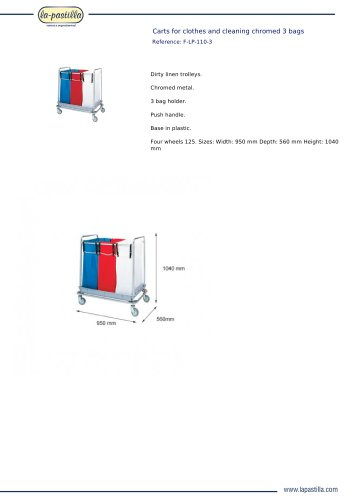 CARTS FOR CLOTHES AND CLEANING CHROMED 3 BAGS