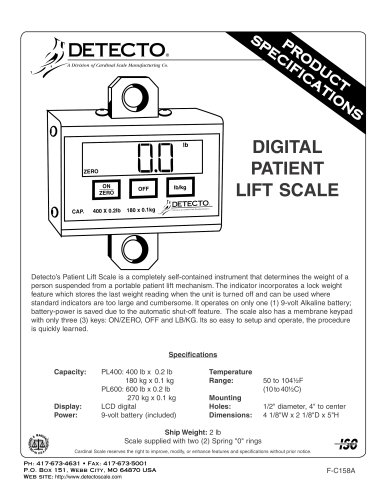 PL Series Patient Lift Scales Spec Sheet