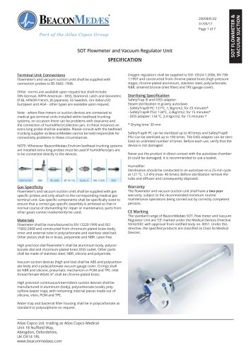 Flow Meters and Vacuum Regulators HTM/ISO Specification Sheet