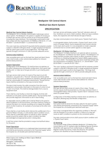 Medipoint 125 Central Alarm HTM/ISO Specification Sheet