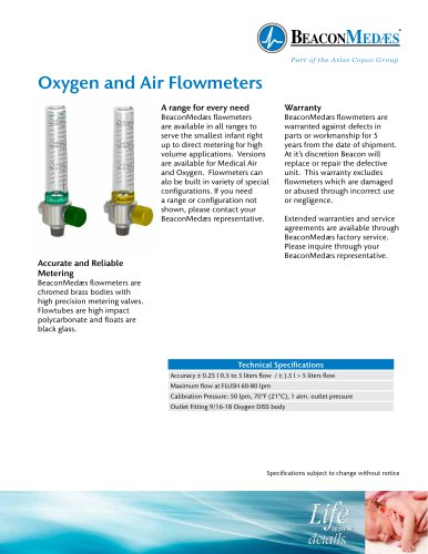 Oxygen and Air Flowmeters