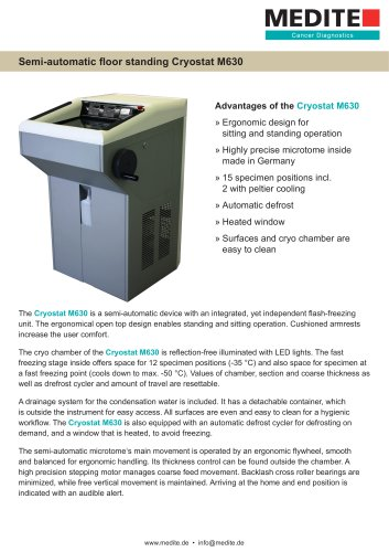 Semi-automatic floor standing Cryostat M630