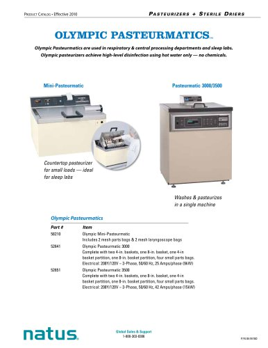 Natus Pasteurizers + Sterile Driers Catalog