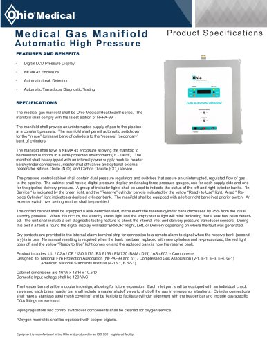 Medical Gas Manifiold Automatic High Pressure