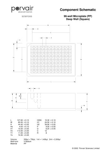 96 well square 2ml, 1ml, 350µl deep well schematic