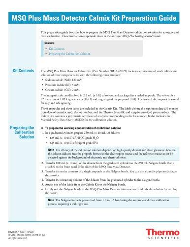 MSQ Plus Mass Detector Calmix Kit Preparation Guide