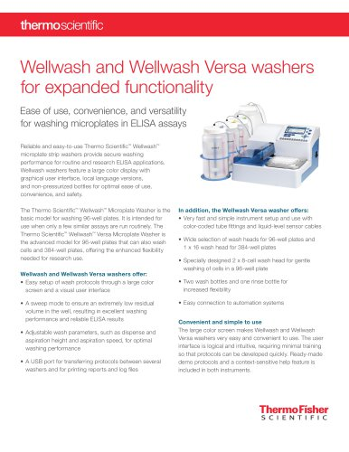 Wellwash and Wellwash Versa washers for expanded functionality