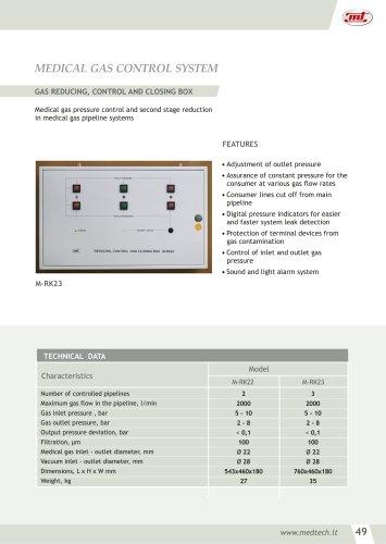 GAS REDUCING, CONTROL AND CLOSING BOX