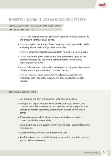 HOSPITAL MEDICAL GAS MONITORING SYSTEM