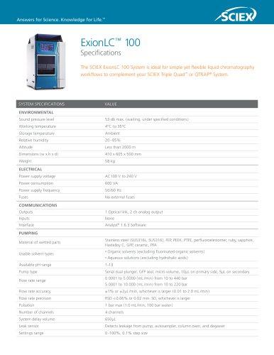 ExionLC 100 Extended Specs