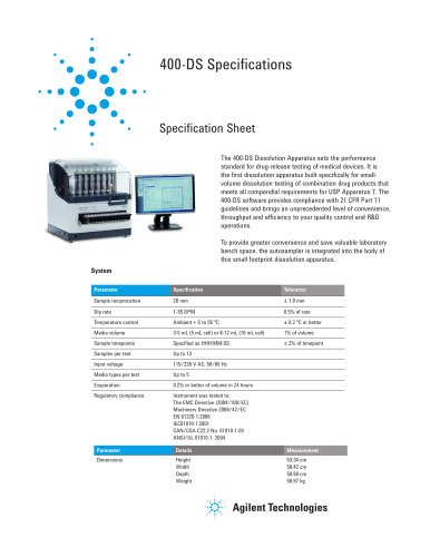 400-DS Dissolution Apparatus Specification