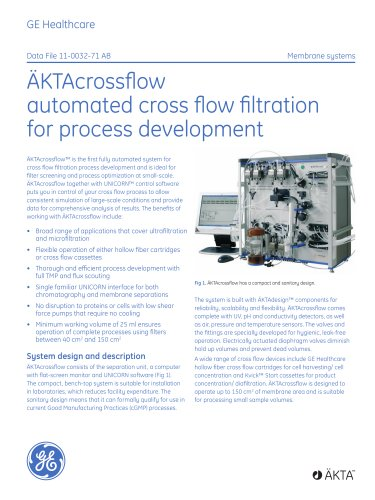 ÄKTAcrossflow -automated cross flow filtration for process development