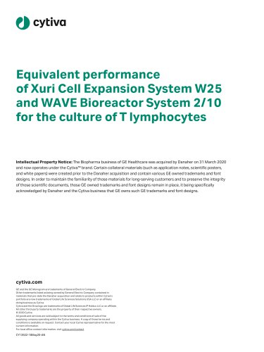 Equivalent performance of Xuri Cell Expansion System W25 and WAVE Bioreactor System 2/10 for the culture of T lymphocytes
