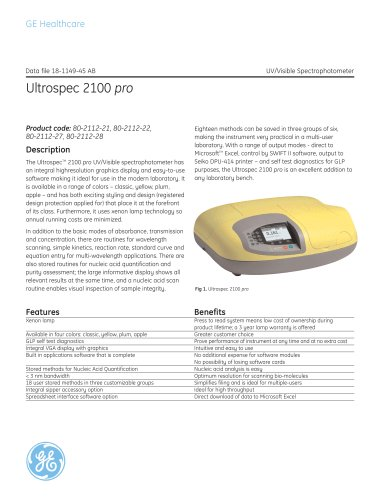 Ultrospec 2100 pro: UV/Visible spectrophotometer