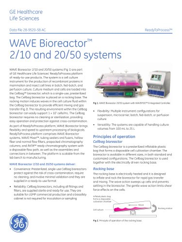 WAVE Bioreactor Systems 2/10 and 20/50