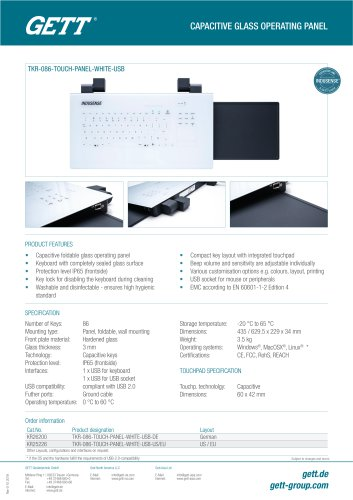 CAPACITIVE GLASS OPERATING PANEL InduSense® Touch Panel
