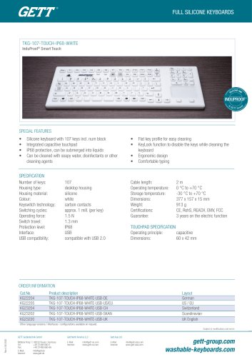 InduProof®  Pro TKG-107-TOUCH-IP68-WHITE-MAG-BACKL