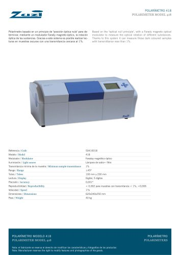 Automatic Digital Polarimeter Model 418