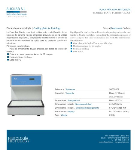 COOLING PLATE FOR HISTOLOGY