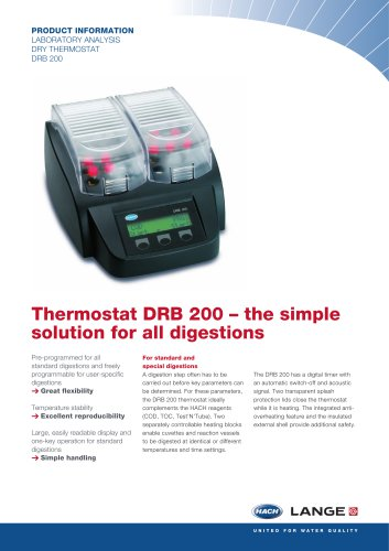 PRODUCT INFORMATION LABORATORY ANALYSIS DRY THERMOSTAT DRB 200