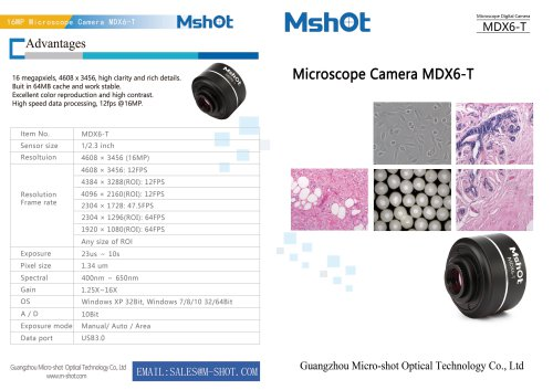 Mshot MDX6-T 16.0MP microscope camera catalogue