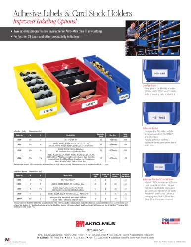 Adhesive Labels & Card Stock Holders