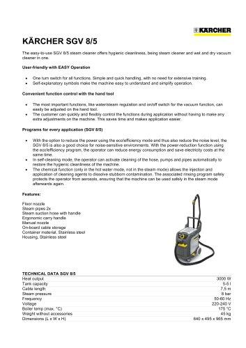 SGV 8/1 Steam Vacuum Cleaner