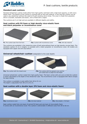 Seat cushions, textile products