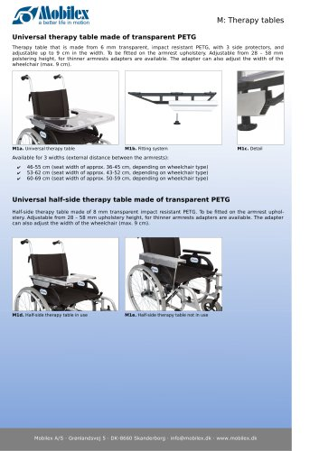 Therapy tables for wheelchairs